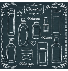 Chalkboard cosmetic bottles set 2 vector image