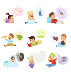 children reading books and dreaming kids vector image