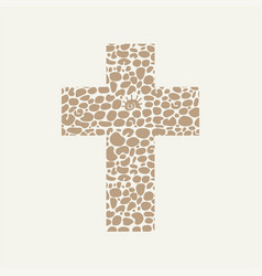 Christian cross with abstract pebble texture vector