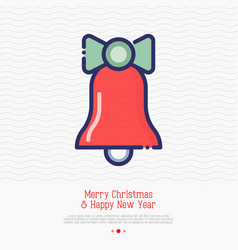 christmas bell thin line icon vector image