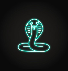 Cobra snake icon in glowing neon style vector