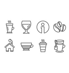 coffee-berry beans latte and wine glass icons vector image