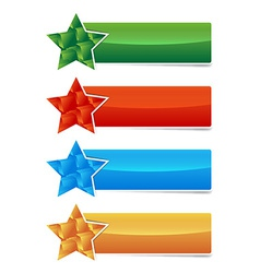 colored banner set with star and 3d cubes shape vector image