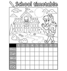 Coloring book school timetable 6 vector
