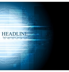 Dark blue tech background Circuit board vector image