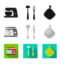 design of kitchen and cook sign set of vector image