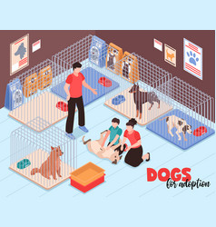 dog shelter family isometric vector image