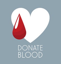donate blood white heart and drop vector image