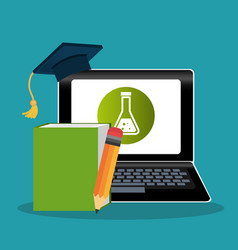 Electronic learning with laptop computer vector