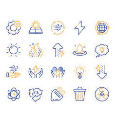 Energy line icons solar panels wind energy and vector