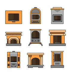 Fireplaces Flat Icons for Design vector