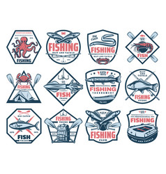 fishing icons fish and seafood catch tackles vector image