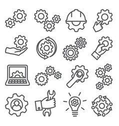 gear line icons set on white background vector image