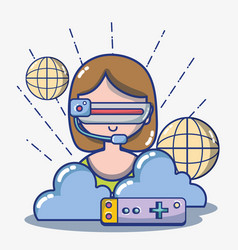girl with 3d glasses technology to virtual reality vector image