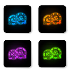 Glowing neon speech bubbles with question and vector