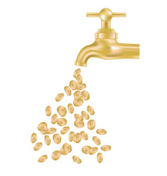 Gold tap with money vector