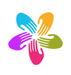 Group of 5 hands together teamwork icon vector