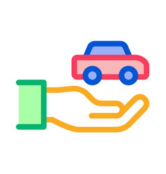 hand holding car icon outline vector image