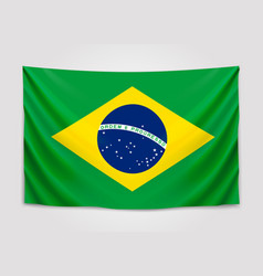 hanging flag of brazil federative republic of vector image