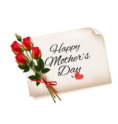 Happy Mothers Day note with red roses background vector
