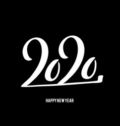 Happy new year 2020 poster with hand drawn vector