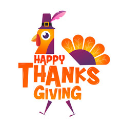 happy thanksgiving typographiccartoon character vector image