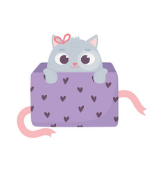 happy valentines day cute little cat coming out vector image