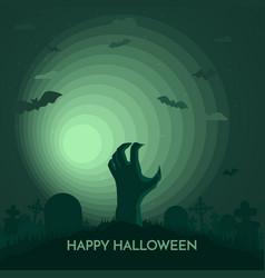 haunted happy halloween banner dead hand vector image