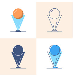 hologram projection icon set in flat and line vector image