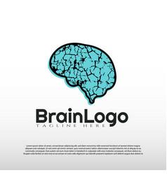Human brain logo with art design concept vector