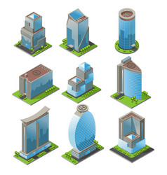 Isometric urban office buildings set vector