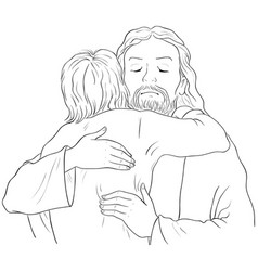 jesus hugging child christian coloring page vector image