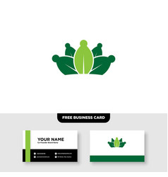 Leaf crown king logo and business card template vector