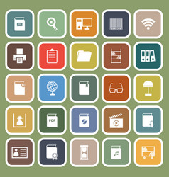 library flat icons on green background vector image