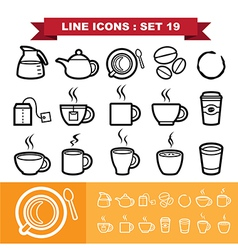 Line icons set 19 vector image