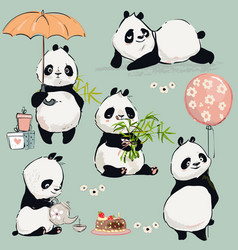 Little panda collection vector