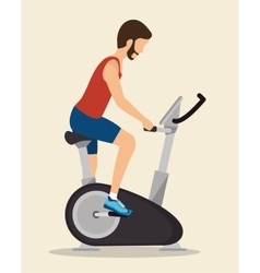 Man exercises static bike icon vector