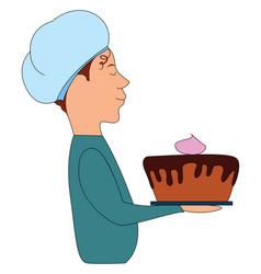 man holding cake on white background vector image
