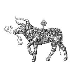 Mechanical bull hand drawn steampunk vector