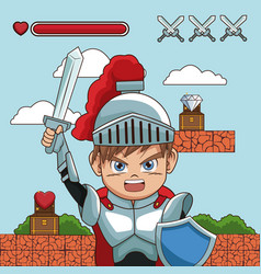 Medieval warrior on videogame scenery vector