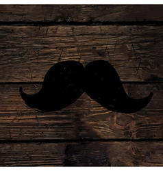 Moustache sign on wooden wall vector