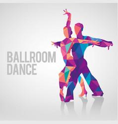 multicolored polygonal silhouette ballroom dance vector image