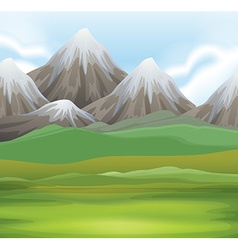 Nature scene of field and mountains vector