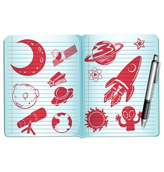 Notebook full with science symbols vector