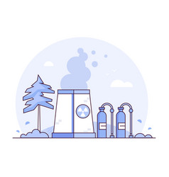 nuclear power plant - thin line design style vector image