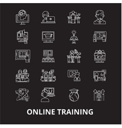 online training editable line icons set on vector image