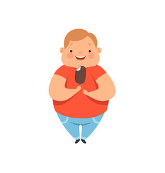 Overweight boy eating ice cream cute chubby child vector