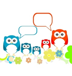 Owls family speech in love on a flowery landscapes vector