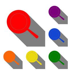 Pan sign set of red orange yellow green blue vector