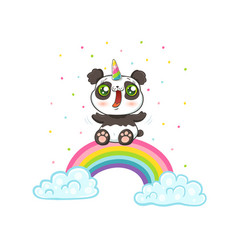 Panda with unicorn horn on rainbow vector